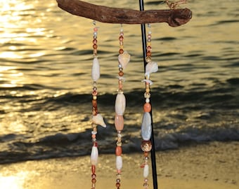 shell, wind chimes with gems