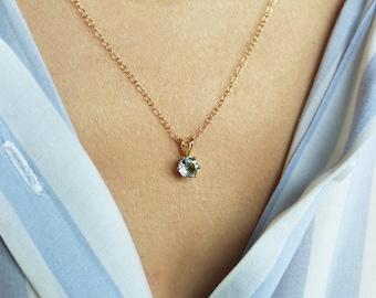 Aquamarine Necklace, Aquamarine Pendant, Gold Necklace, March Birthstone Necklace, Gemstone Necklace, Minimal Necklace, Aquamarine Jewelry