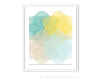 Geometric Flowers Print Modern Geometric WallArt geometric Print Flower Print Flower Wall Art Modern Decor Custom Colors Teal Yellow Art