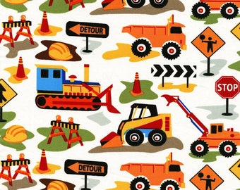 Tot Town Dig It White by Michael Miller - Construction Trucks Bulldozer Orange - Quilting Cotton Fabric - choose your cut