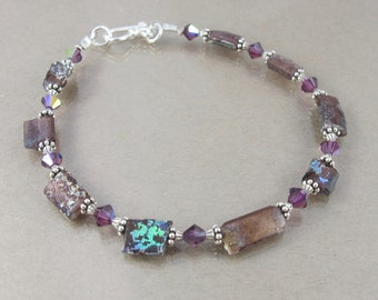 RARE purple ancient Roman glass and Swarovski crystal sterling bracelet FREE SHIPPING ooak