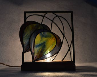 Art Deco Tulip Stained Glass Panel Lamp