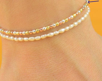 Three golds  beads  friendship bracelet