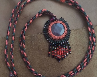 Dream catcher pendant / ametiste / miyuki / Native American style