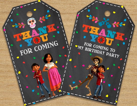 coco tags printable disney coco thank you labels coco thank