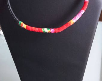 Necklace Choker, necklace cord and fabric, ethnique.choker fabric