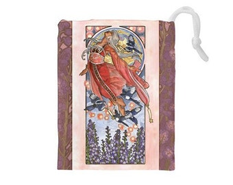 Drawstring Bag Lady of July Art Nouveau Birthstone Series Tanabata Star Festival Goddess with Magpies Mucha Style Tarot Deck Cosmetic Bag