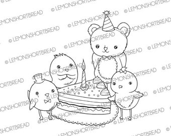 Digital Stamp Happy Birthday Friends, Digi Download, Coloring Page, Cake Party Celebration, Birds Teddy Bear Animals, Clip Art Graphic
