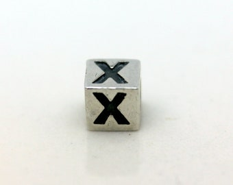 Sterling Silver Alphabet X Block Cube Square Bead 4mm