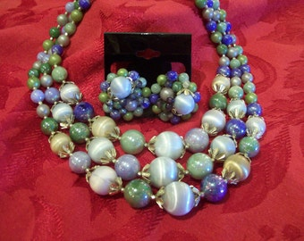 triple strand 40's necklace/earring set