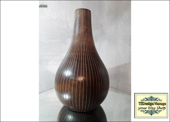 Jarrón madera, Jarrón madera tallada, Jarrón marrón, Jarrón étnico, Jarrón africano, Decoración étnica ideas, Decoración africana ideas