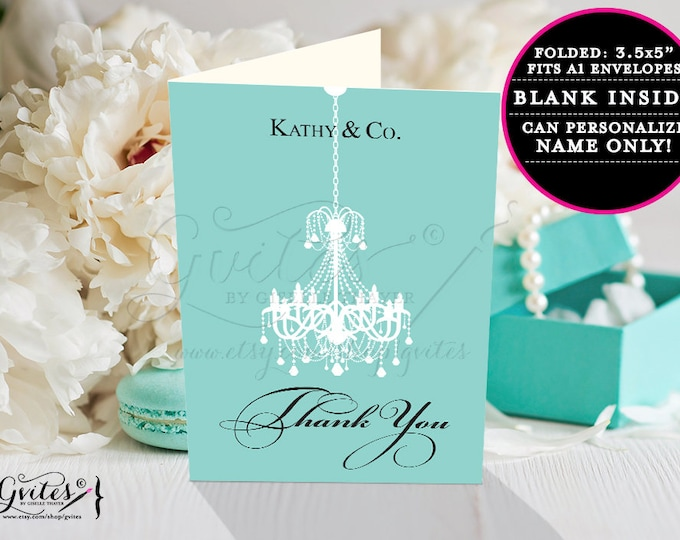 """Birthday thank you card printable, breakfast at and co blue themed party printables, elegant thank you notes. 3.5x5"""" 2 Per/Sheet Chandelier"""