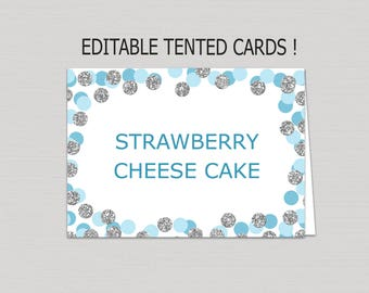 Editable Blue and Silver food tent card download, food tents printable, buffet cards, silver confetti food tent card, blank place cards B19