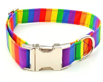 Rainbow Stripe Dog Collar