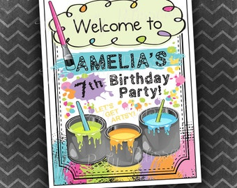 Art Party Birthday Welcome Sign / Digital File