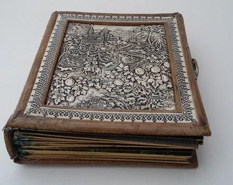 Antique Photo Album Leather Bound Embossed CDV or Tintype Photo's