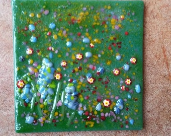 Handmade Accent Wall Tile Fused Glass Flowers