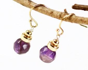 Amethyst Earrings, Goldfill, purple gemstone, dainty dangle earrings, delicate, petite, everyday, holiday gift, February birthstone, 1588