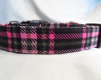 Plaid Dog Collar Pink and Black Plaid Dog Collar