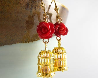Romantic Gold Birdcage and Red Rose Carved Gemstone Earrings with a Real Pearl