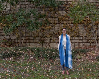 Indigo Shibori Silk Shawl/Scarf/Wrap/Veil  - Free Shipping