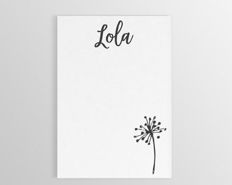Custom Dandelion Notepad ~ Personalized Notepad ~ Custom Stationary ~ To Do List ~ Personalized Gift