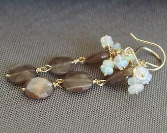 Genuine Opal earrings, Ethiopian gold opal earrings, opal jewelry gift for her, brown moonstone earrings, 14k gold fill French hook wires