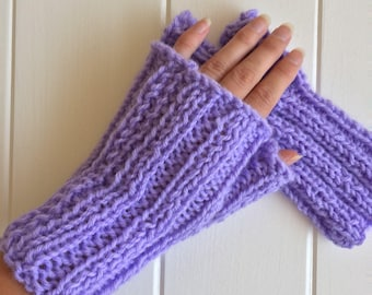 Purple Fingerless Gloves, Texting Mittens, Purple arm warmers, Knit Fingerless Mittens, Fingerless Mitts, Gifts for Her, gifts under 20