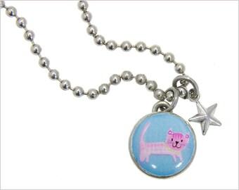 kid necklace, cat charm, kids jewelry,  kids bracelet, girls pendants, pink cat, photo jewelry, interchangeable jewelry, kids accessories #8