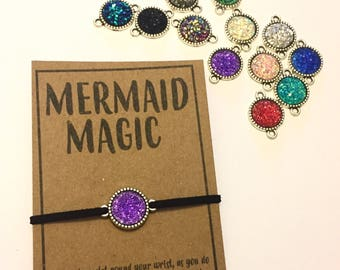 Mermaid magic druzy wish friendship charm bracelet various colour