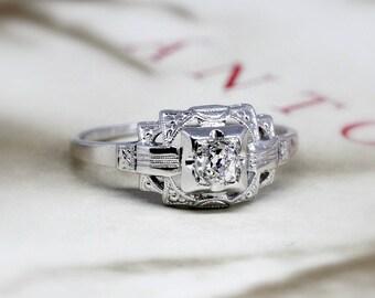 Edwardian Diamond Engagement Ring, Antique Lambert Bros Art Deco Diamond Ring, 1920s 18k White Gold, Conflict Free Diamond, Anniversary Ring