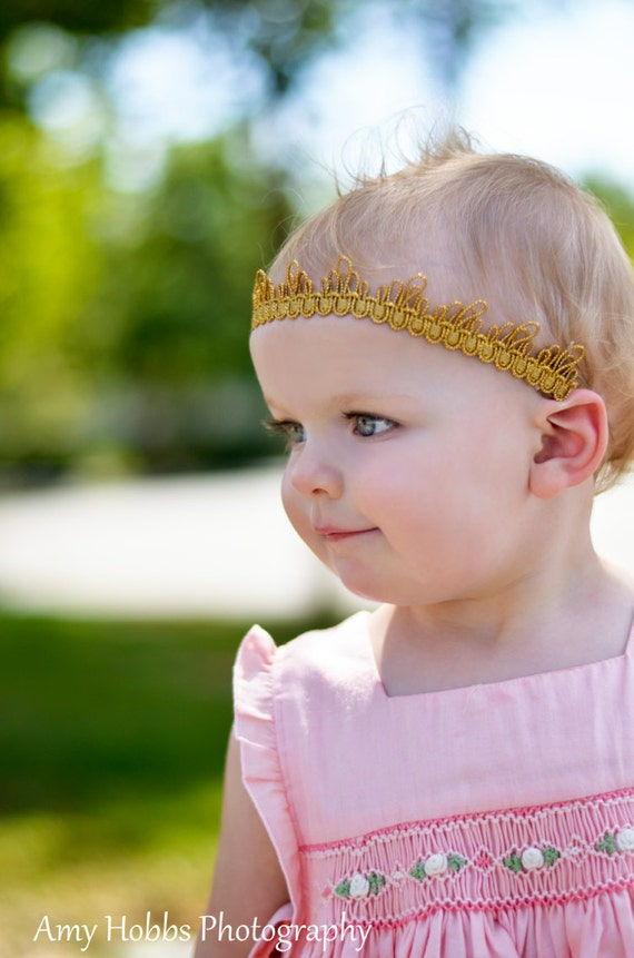 Gold Crown Headband, Gold Crown Headband, Crown Headband, Gold Headband, Birthday Crown, Baby Headband, Gold Crown, Newborn Crown