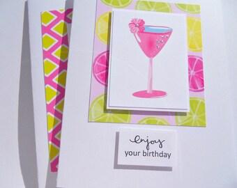 Cocktail Birthday Card - Martini Birthday Card - Birthday Cards for Her - Birthday Cards for Girlfriends -  Friendship Cards - cbc1