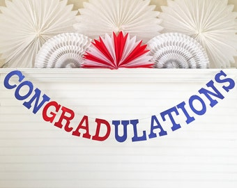 Glitter Graduation Banner - 5 Inch Letters - Congradulations Banner Congratulations Graduation Party Decoration 2018 Grad Party Banner Sign