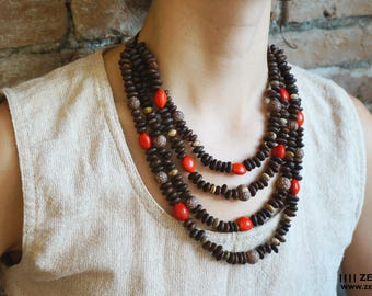 Ethnic Amazon Seed necklace,beaded necklace,natural jewelry,tribal necklace,shaman necklace,hippie necklace,huyaruro, jasper,naidi, chocho