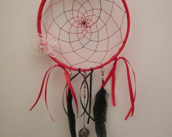 Dream catcher handmade red and black, white flowers and black Rooster feathers