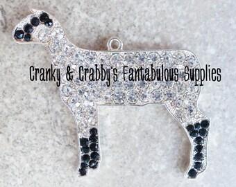 Rhinestone Sheep Necklace Pendant - 53mm X 58 - livestock  - Chunky Necklace