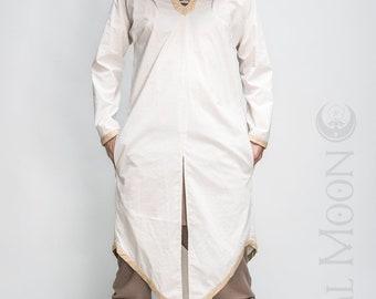 "NEW Men's LightWeight ""Sorcerer"" Kaftan Long Tunic in Ivory with Beige Faux Vegan Leather Details by Opal Moon Designs (Size S-XXL)"