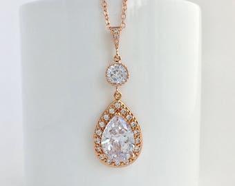Rose Gold Bridal Necklace Rose Gold Wedding Necklace Rose Gold Crystal Necklace Rose Gold Necklace Rose Gold Bridesmaid Crystal Jewelry