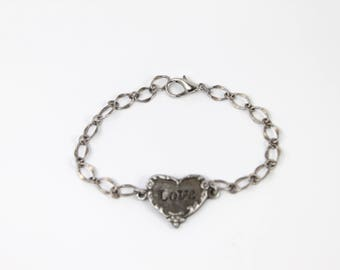Lead free Pewter LOVE heart bracelet/gifts for her/holiday jewelry