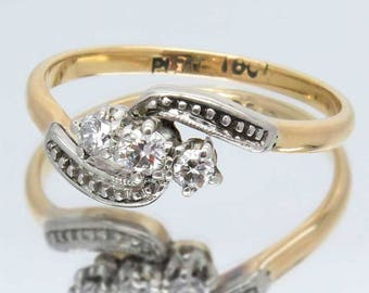 Vintage Three Diamond Trilogy Ring, Art Deco Style 18ct Gold & Platinum Crossover Ring, Unique Engagement Or Anniversary Ring, Free Shipping