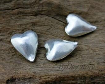 Silver Heart Beads,Plain Heart Beads,Puffed Heart,Handmade Silver Beads,approx: 14x15mm.,2 pcs