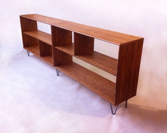 Mid Century Modern Bookcase   Media Console   Record Shelf   Entry Way  Table With Shelves