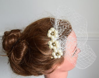 Ivory pearl mini birdcage veil