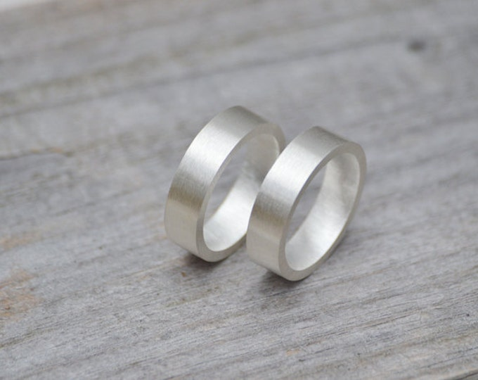 Flat Wedding Ring 5 mm Wide In Sterling Silver Matt Finish With Personalized Message Inside, Wedding Band Handmade In The UK