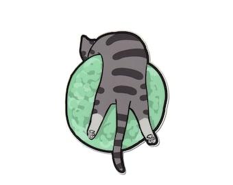 Cute Cat Vinyl Sticker Large Size Kitty on Neptune Planet Cat cute Sticker Car Sticker Bumper Sticker Laptop Decal