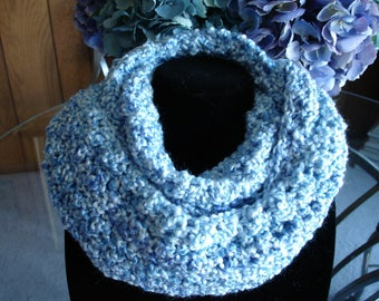 Medium Blue Cowl Scarf, Infinity Scarf, Crocheted Scarf, Winter Scarf