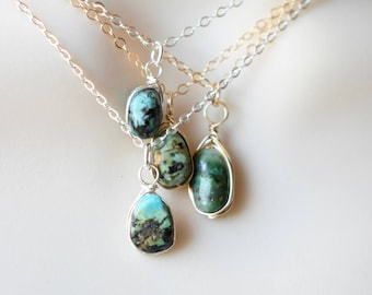 Raw Turquoise Necklace, December Birthstone, Silver Raw Turquoise Pendant, Dainty Wire Wrapped Stone Necklace, Gold Turquoise Necklace