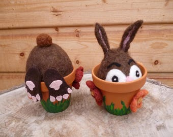 Funny half Easter bunnies in clay Pot, Easter gift, party gag, table decorations