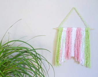 Baby Girl Nursery Wall Hanging Nursery Decor Nursery Wall Art Nursery Wall Mobile Baby Pink Mint Green White Yarn Art Girls Room Decor